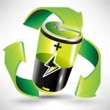 Groen batterij recyclingsconcept Stock Afbeeldingen