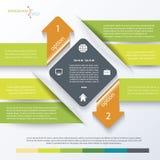 Groen bedrijfsconceptontwerp met pijlen Infographic stock illustratie