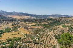 Groen, Bergen, Landbouwbedrijven en Gebieden op de rand van Ronda stock fotografie
