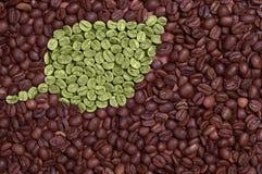 Groen blad dat van koffiebonen wordt gemaakt Stock Afbeeldingen