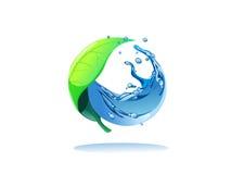 Blad en water in cirkel Royalty-vrije Stock Afbeeldingen