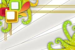 groen blad met vierkanten, abstracte achtergrond Stock Foto