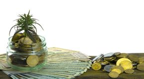 Groen Blad van Cannabis, Marihuana, Ganja, Hennep op een Rekening 100 Amerikaanse dollars Bedrijfs concept Cannabisblad en Dollar Royalty-vrije Stock Foto's