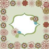 Groen bloemenkrabbel retro kader in vector Stock Illustratie