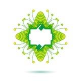 Groen bloemenontwerpetiket Stock Afbeeldingen