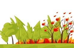 Groen bos in brand Brandende bomen dor klimaat in Thailand Noodsituatiesituatie Wildfire thema Vlak vectorontwerp royalty-vrije illustratie