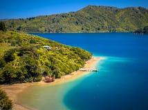 Groen bos en turkoois blauw water in Marlborough-geluiden royalty-vrije stock afbeelding