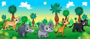 Groen bos met wilde dieren stock illustratie