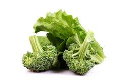 Groen broccoli en sladieet Stock Fotografie