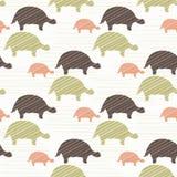 Groen Bruin en Roze Naadloos Schildpadsilhouet stock illustratie