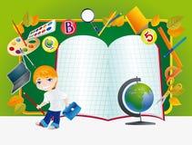 Groen bureau met schoollevering. Royalty-vrije Stock Fotografie