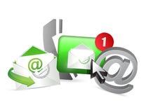 groen contacteer ons pictogrammen grafisch concept Stock Afbeeldingen