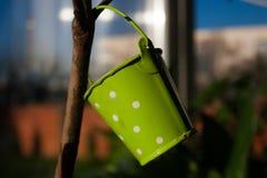 Groen de boomstuk speelgoed van de emmerdecoratie Royalty-vrije Stock Foto