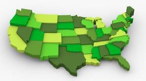 Groen de kaartbeeld van de V.S. Stock Afbeeldingen