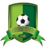 Groen de Voetbalembleem van het streepschild met lint Stock Foto