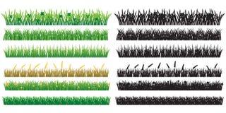 6 groen die Gras en Silhouet, op Witte Achtergrond wordt geïsoleerd royalty-vrije stock fotografie