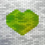 Groen die Hart van bakstenen wordt gemaakt Royalty-vrije Stock Foto