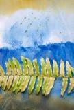 Groen die varenblad op waterverfachtergrond wordt geïsoleerd Spatie voor het motiveren van citaat, nota, bericht en commentaar Royalty-vrije Stock Fotografie