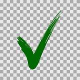 Groen die vinkje op transparante achtergrond wordt geïsoleerd stock illustratie