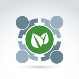 Groen eco conceptueel symbool, het teken van de ecologievereniging, samenvatting Stock Foto