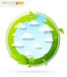 Groen eco glanzend pictogram Royalty-vrije Stock Afbeeldingen