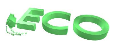 Groen eco-teken met huis Stock Foto