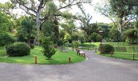 Groen ecologisch park in Buenos aires Japanse Tuin Stock Afbeelding