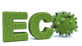Groen ecowoord met Aarde en bomen Stock Afbeelding