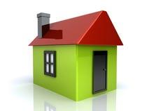 Groen eenvoudig huis Stock Illustratie