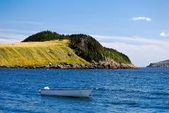 Groen eiland en een boot Royalty-vrije Stock Foto's