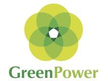 Groen embleem Power2 stock illustratie