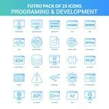 25 Groen en Blauw Futuro Programmering en Ontwikkeling Pictogrampak vector illustratie