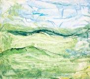 Groen en blauw Schilderen van de kunst Stock Afbeeldingen