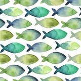 Groen en blauw waterverf naadloos patroon van eenvoudig silhouet Royalty-vrije Stock Afbeelding