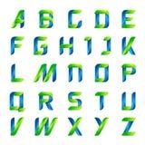 Groen en blauwe brieven van het ecologie de Engelse alfabet stock afbeeldingen