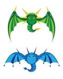 Groen en blauwe draken smilies. Royalty-vrije Stock Foto's