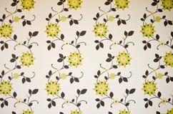 Groen en bruin bloemenbehang Stock Fotografie