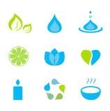 Groen en de blauwe pictogrammen van het water, van de aard en van wellness - Stock Foto