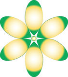 Groen en Geel Bloemontwerp Vector Illustratie