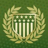 Groen en Gouden Schild op een Achtergrond van de Ster Stock Fotografie