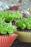 Groen en meloen cupcakes Stock Fotografie