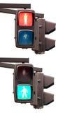 Groen en rood voetverkeer lignt Stock Fotografie