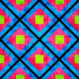 Groen en roze op een blauwe achtergrond van de veelhoeken Naadloos Geometrisch Patroon Grungeeffect stock illustratie
