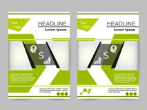 Groen en zwart brochureontwerp Royalty-vrije Stock Foto's
