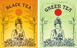 Groen en zwart theeetiket Stock Afbeeldingen
