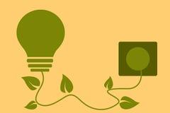 Groen energieconcept Gloeilamp met bladeren Royalty-vrije Stock Foto