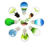 Groen energieconcept - sparen groene planeet stock illustratie