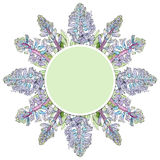 Groen etiket met Blauwe Hyacintbloemen stock fotografie