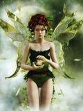 Groen feemeisje met een lantaarn stock illustratie