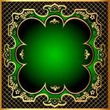 Groen frame als achtergrond met gouden (Engels) netto patroon m Stock Foto